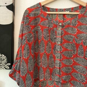Anthropologie Sugarlips Blouse, Red, Leaves, Sz M